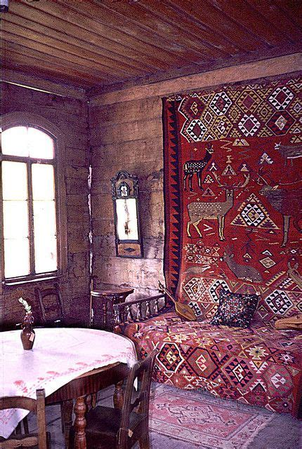 old russian wooden house interior 1   Bohemian, Wooden