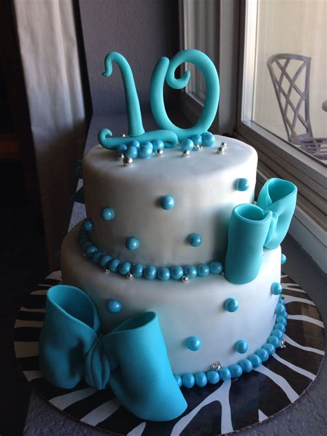 Bow cake, teal, for a 10 year old girl   10 birthday cake