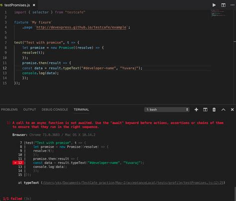 javascript - Replacing of TestCafe async / await with