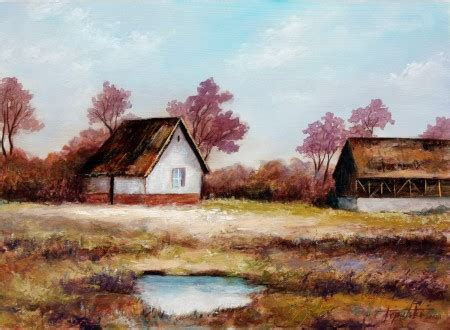 Old Farm Houses – Oil Painting | Fine Arts Gallery