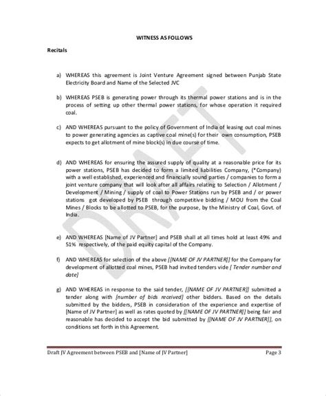 Joint Venture Agreement - 10+ Free Word, PDF Documents